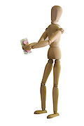 Posed artist manikin on white background handing out prescription drugs