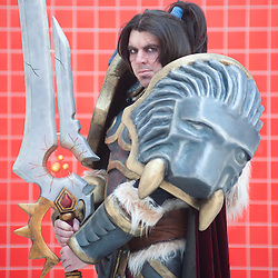 London, UK - 26 May 2013: Jason Edwards dressed as Varian Wrynn of World of Warcraft poses for a picture during the London Comic Con 2013 at Excel London. London Comic Con is the UK's largest event dedicated to pop culture attracting thousands of artists, celebrities and fans of comic books, animes and movie memorabilia.