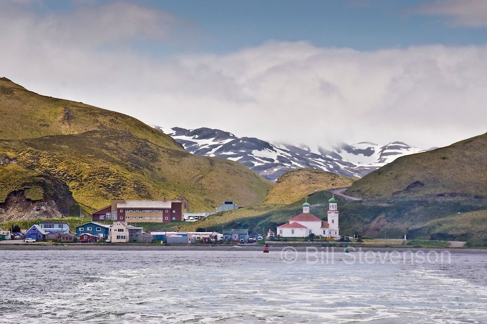 Dutch Harbor fades into the distance as the trip begins.