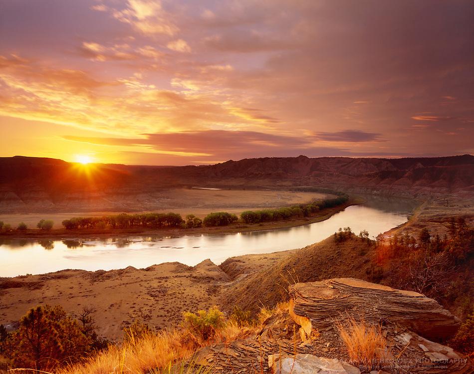 Sunrise over Upper Missouri River Breaks National Monument, Montana USA