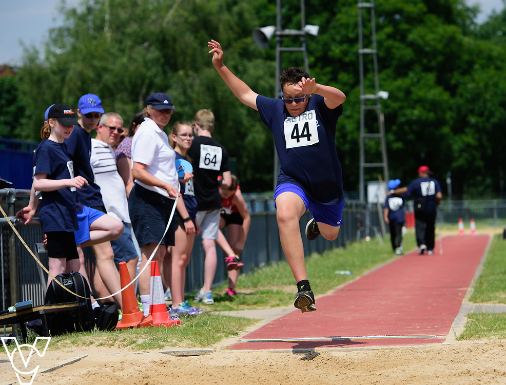 Metro Blind Sport's 2017 Athletics Open held at Mile End Stadium.  Long jump.  Ryley Hector<br /> <br /> Picture: Chris Vaughan Photography for Metro Blind Sport<br /> Date: June 17, 2017