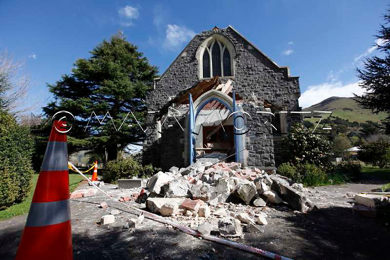 Earthquake damage to the Catholic Church St. John The Evangelist in Little River, Banks Peninsula, near Christchurch, New Zealand