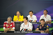 April 15-17, 2016: Chinese Grand Prix, Shanghai, Maurizio Arrivabene, team principal of Scuderia Ferrari, Toto Wolff, team principal of Mercedes, Christian Horner, team principal of Red Bull Racing, Frederic Vasseur, Renault Racing Director, Yusuke Hasegawa, Head of Honda F1, Eric Boullier, team principal of Mclaren Mercedes F1 team