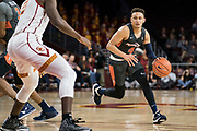 Pepperdine Waves guard Colbey Ross (4) looks to penetrate against the Southern California Trojans during an NCAA college basketball game, Tuesday, Nov. 19, 2019, in Los Angeles. USC defeated Pepperdine 91-84. (Jon Endow/Image of Sport)