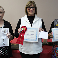 From left, Valerie Coleman holds Bartahatchie RCDC's third-place ribbon and certificate; Candy Archer holds Wren RCDC's second-place ribbon and certificate; and Dorothy Hale-Smith holds Prairie RCDC's first-place ribbon and certificate.