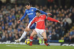 LONDON, ENGLAND - Sunday, February 7, 2010: Chelsea's Michael Ballack and Arsenal's Cesc Fabregas during the Premiership match at Stamford Bridge. (Photo by Chris Brunskill/Propaganda)