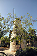 """Israel, Jerusalem, """"New City"""" The Montefiore windmill in Yemin Moshe, first Jewish residence built outside Old City walls is named after Sir Moses Montefiore who established the neighborhood. The windmill was erected by Moshe Moses Montefiore in 1857 for grinding grain into flour"""