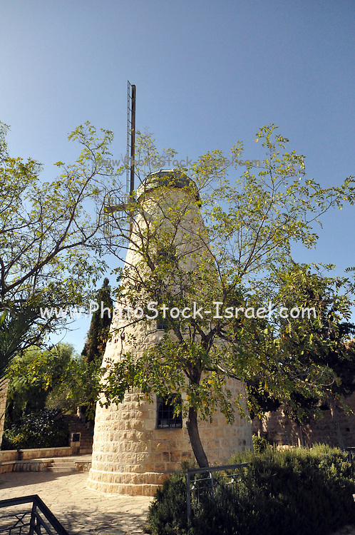 "Israel, Jerusalem, ""New City"" The Montefiore windmill in Yemin Moshe, first Jewish residence built outside Old City walls is named after Sir Moses Montefiore who established the neighborhood. The windmill was erected by Moshe Moses Montefiore in 1857 for grinding grain into flour"