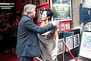 NANCY DELL D'OLIO; LAURENCE LYNCH, Burnt Oak premiere of Laurence Lynch play detailing his life as a Soho plumber and close friend to artist Sebastian Horsley. Directed by Nathan Osgood and produced by Tartan Films founder Hamish McAlpine. Leicester Square Theatre, 6 Leicester Place, London, 2 August 2011.<br /> <br />  , -DO NOT ARCHIVE-© Copyright Photograph by Dafydd Jones. 248 Clapham Rd. London SW9 0PZ. Tel 0207 820 0771. www.dafjones.com.