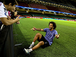 CARDIFF, WALES - Friday, June 2, 2017: Real Madrid's Marcelo chats with a supporter after a training session ahead of the UEFA Champions League Final between Juventus FC and Real Madrid CF at the Stadium of Wales. (Pic by David Rawcliffe/Propaganda)