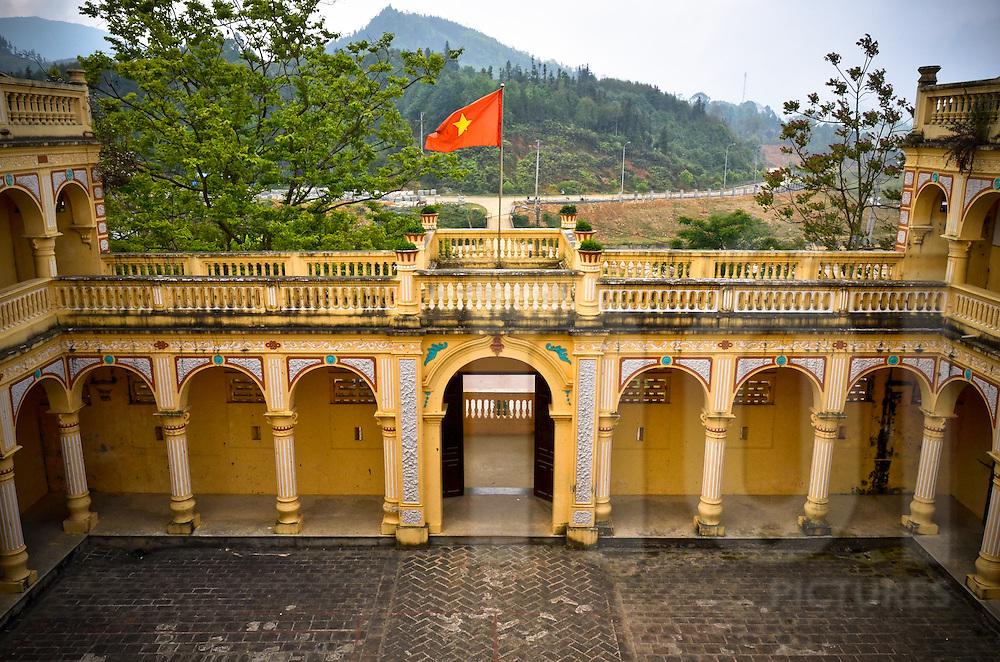 View of the inside yard of the Hmong King Palace in Bac Ha, Lao Cai province, North Vietnam.
