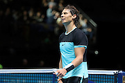Rafael Nadal celebrates after his victory during the ATP World Tour Finals at the O2 Arena, London, United Kingdom on 20 November 2015. Photo by Phil Duncan.