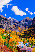 View of Telluride in autumn, climbing 13,114 foot (3997 meter) Imogene Pass, San Juan Mountains, southwest Colorado USA.
