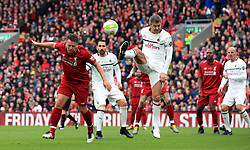 Liverpool's Michael Owen heads at goal during the Legends match at Anfield Stadium, Liverpool.