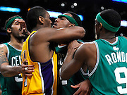 Ron Artest and Paul Pierce have a dustup in the 2nd quarter. Pierce was called for a double technical foul. The Lakers hosted the Boston Celtics in game 7 of the NBA Finals  Los Angeles, CA 06/16/2010 (John McCoy/Staff Photographer).