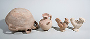 Terracotta utensils Roman period 1-2 century CE pilgrims flask, Juglet and roosters figurines