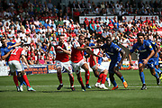 AFC Wimbledon attack from the free kick during the EFL Sky Bet League 1 match between Fleetwood Town and AFC Wimbledon at the Highbury Stadium, Fleetwood, England on 4 August 2018. Picture by Craig Galloway.