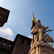 Statue of Saint John Nepomuceno on the parade gound inside Castello Sforzesco, Milan, Italy<br />