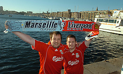 MARSEILLE, FRANCE - Tuesday, December 11, 2007: Liverpool fans brothers Guy and Neil Bradshaw from Heswall in Marseille for the final UEFA Champions League Group A match against  Olympique de Marseille. (Photo by David Rawcliffe/Propaganda)