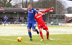 Rochdale's Stephen Dawson and Crawley Town's Gwion Edwards  - Photo mandatory by-line: Matt McNulty/JMP - Mobile: 07966 386802 - 17.01.2015 - SPORT - Football - Rochdale - Spotland Stadium - Rochdale v Crawley Town - Sky Bet League One
