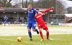 Rochdale's Stephen Dawson and Crawley Town's Gwion Edwards  - Photo mandatory by-line: Matt McNulty/JMP - Mobile: 07966 386802 - 17.01.2015 - SPORT - Football - Rochdale - Spotland Stadium - Rochdale v Crawley Town - Sky Bet League One