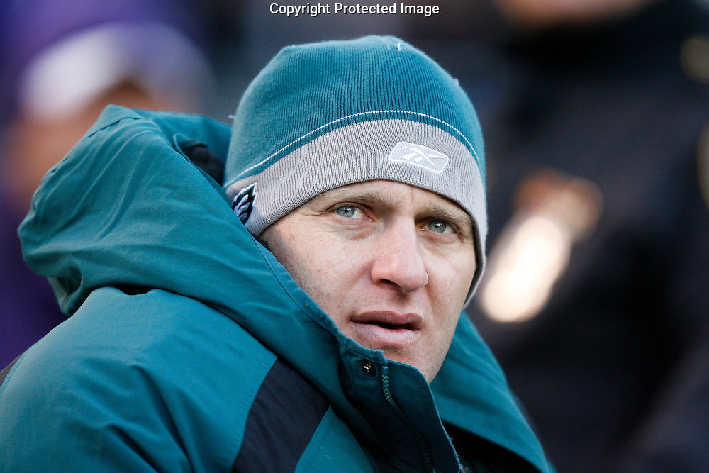23 Nov 2008: Philadelphia Eagles punter Sav Rocca #6 sits on the bench during the game against the Baltimore Ravens on November 23rd 2008. The Baltimore Ravens won 36 to 7 at M & T Bank Stadium in Baltimore, Maryland.