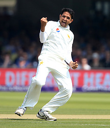 Pakistan's Mohammad Abbas celebrates taking the wicket of England's Alastair Cook LBW during day three of the First NatWest Test Series match at Lord's, London.