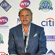 Citi Open owner MARK EIN speaks at a press conference at the Rock Creek Tennis Center.