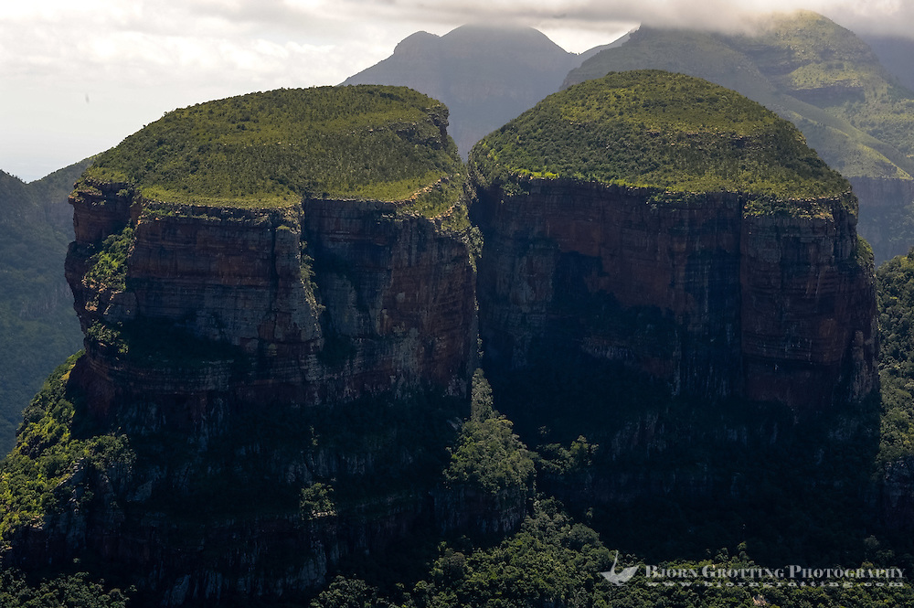 The Three Rondavels in the Blyde River Canyon in South Africa. The canyon forms the northern part of the Drakensberg escarpment.