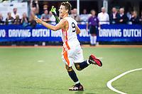 DEN BOSCH -   Jelle Galema heeft de stand op 2-0 gebracht tijdens de wedstrijd tussen de mannen van Jong Oranje  en Jong Engeland, tijdens het Europees Kampioenschap Hockey -21. ANP KOEN SUYK