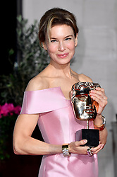 Renee Zellweger with her Best Actress Bafta award attending the after show party for the 73rd British Academy Film Awards.