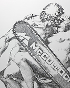 Heavy metal! Artist creates stunning picture of bikers made with millions of STAPLES<br /> For most of us staples are little more than a basic office accessory. <br /> But for French artist Baptiste Debombourg the tiny pieces of metal are the tools with which he creates these detailed masterpieces.<br /> The artist is displaying his work at the Krupic Kersting Gallery, in Cologne, Germany.<br /> The subject for Debombourg's latest exhibition is Agony in the Garden. <br /> <br /> The 34-year-old draws heavily on religion in his stunning and intricate work. <br /> The artist manipulates light and shadow in his work by strategically placing the staples to create shading.<br /> <br /> <br /> Debombourg said he is inspired by the work of Renaissance engravers. <br /> But he adds his own unique twist, for example in his re-imagination of the Apocalypse in the Revelation of John, bikers take the place of the horsemen. <br /> 'My sculptural work is generally part of a contextual approach, and I operate in a space with materials chosen specially for it,' the French artist says on his website.<br /> ©Krupic Kersting Galerie/Exclusivepix