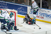 KELOWNA, CANADA - OCTOBER 10: Mark Liwiski #9 of the Kelowna Rockets attempts to backhand the puck to the net of Liam Hughes #30 of the Seattle Thunderbirds on October 10, 2018 at Prospera Place in Kelowna, British Columbia, Canada.  (Photo by Marissa Baecker/Shoot the Breeze)  *** Local Caption ***