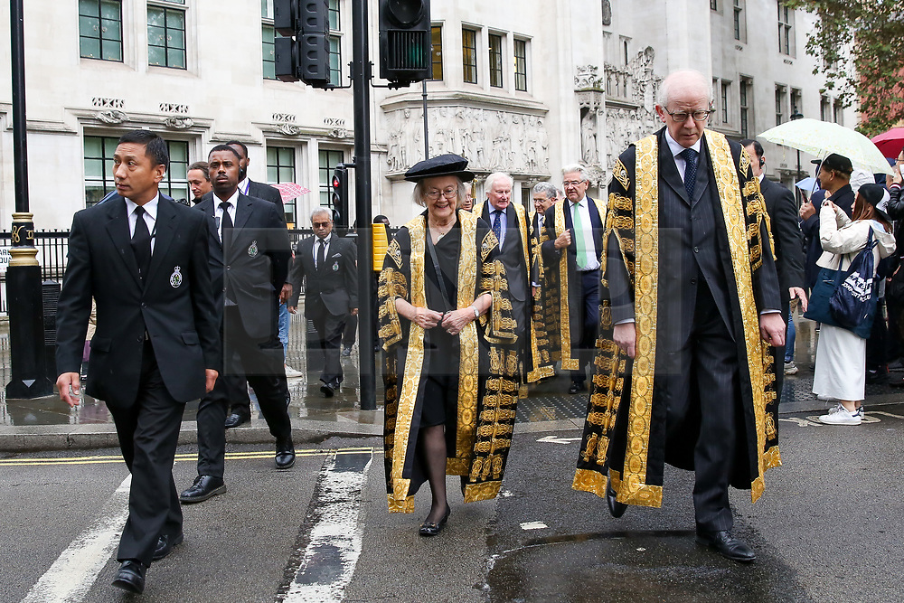 © Licensed to London News Pictures. 01/10/2019. London, UK. Baroness Hale of Richmond (C), President of the Supreme Court and the Justices of the Supreme Court leave Supreme Court of Justices for Westminster Abbey to attending the annual service to mark the start of the legal year. The start of the new legal year is marked with a traditional religious service in Westminster Abbey followed by a procession to The Houses of Parliament where the Lord Chancellor hosts a reception.  Photo credit: Dinendra Haria/LNP