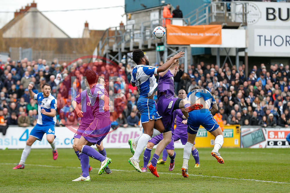Ellis Harrison of Bristol Rovers competes at a corner - Photo mandatory by-line: Rogan Thomson/JMP - 07966 386802 - 03/04/2015 - SPORT - FOOTBALL - Bristol, England - Memorial Stadium - Bristol Rovers v Chester - Vanarama Conference Premier.