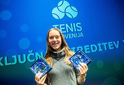 Kaja Juvan during Slovenian Tennis personality of the year 2017 annual awards presented by Slovene Tennis Association Tenis Slovenija, on November 29, 2017 in Siti Teater, Ljubljana, Slovenia. Photo by Vid Ponikvar / Sportida