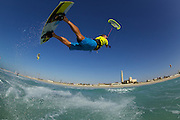 Cabrinha rider Richard Howes at Sunset Beach aka Kite Beach, Dubai, United Arab Emirates