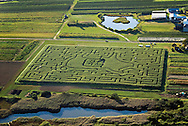 Aerial, Farm Maze, New York,  Southampton, South Fork, Long Island, Atlantic Coast Aerial, Corn Maze, Water Mill, NY
