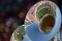 08 October 2016:  A football stadium reflects in the bell of a shiny tuba.  NCAA FCS Missouri Valley Football Conference Football game between Youngstown State Penguins and Illinois State Redbirds at Hancock Stadium in Normal IL (Photo by Alan Look)