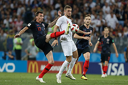 July 11, 2018 - Moscow, Vazio, Russia - Mario MANDZUKIC from Croatia and Jordan HENDERSON from England during a game between England and Croatia valid for the semi final of the 2018 World Cup, held at the Lujniki Stadium in Moscow, Russia. Croatia wins 2-1. (Credit Image: © Thiago Bernardes/Pacific Press via ZUMA Wire)