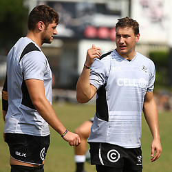 DURBAN, SOUTH AFRICA, 16 August, 2016 - Ruan Botha with Etienne Oosthuizen during The Cell C Sharks  Press Conference and Currie Cup training session at Growthpoint Kings Park in Durban, South Africa. (Photo by Steve Haag)<br /> <br /> images for social media must have consent from Steve Haag