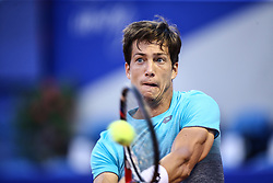 UMAG, July 18, 2018  Aljaz Bedene of Slovenia hits a return against Joao Sousa of Portugal during the first round of 2018 ATP Plava laguna Croatia Open Umag tennis tournamet in Umag, Croatia, on July 17, 2018. Aljaz Bedene won 2-1. (Credit Image: © Igor Soban/Xinhua/Xinhua via ZUMA Wire)