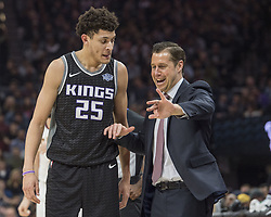 December 27, 2017 - Sacramento, CA, USA - The Sacramento Kings' Justin Jackson (25) gets instructions from head coach David Joerger during action against the Cleveland Cavaliers on Wednesday, Dec. 27, 2017, at Golden 1 Center in Sacramento, Calif. (Credit Image: © Hector Amezcua/TNS via ZUMA Wire)