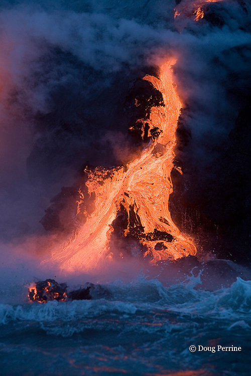 hot lava from ongoing eruption of Kilauea Volcano pours into the Pacific Ocean at Hawaii Volcanoes National Park; a floater rock made buoyant by its steam content rolls in the surf;  Hawaii Island ( the Big Island ), Hawaiian Islands, U.S.A.