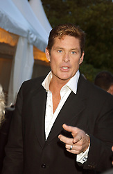 Actor DAVID HASSELHOFF at a evening to celebrate the unveiling of the British Luxury Club at The Orangery, Kensington Palace, London W8 on 16th September 2004.<br /><br />NON EXCLUSIVE - WORLD RIGHTS