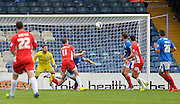 Sean McConville heads wide during the Sky Bet League 2 match between Portsmouth and Accrington Stanley at Fratton Park, Portsmouth, England on 5 September 2015. Photo by Adam Rivers.