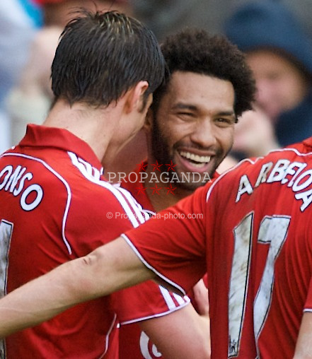LIVERPOOL, ENGLAND - Saturday, March 8, 2008: Liverpool's players celebate Jermaine Pennant's opening goal during the Premiership match against Newcastle United at Anfield. (Photo by David Rawcliffe/Propaganda)