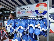 28-05-2009 Voetbal:Willem II:AZ:Tilburg<br /> Crocs schoenen van Willem II marktkraam verkoop sloffen<br /> Foto: Geert van Erven