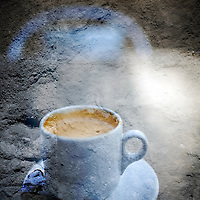 Digital composite of a cup of coffee with added texture