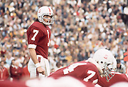 PALO ALTO, CA - NOVEMBER 22:  The 1975 Big Game between Cal and Stanford University played on November 22, 1975 at Stanford Stadium in Palo Alto, California.  Guy Benjamin #7 Stanford QB.